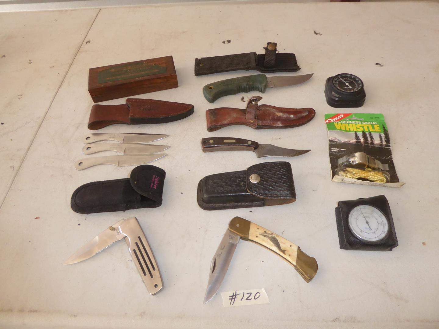 Lot # 120 - Pocket Knives, Throwing Knives & Hunting Knives (main image)
