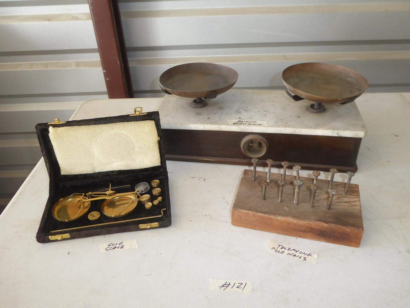 Lot # 121 - Vintage Gold Scale, Telephone Pole Nails & Balance Scale (main image)