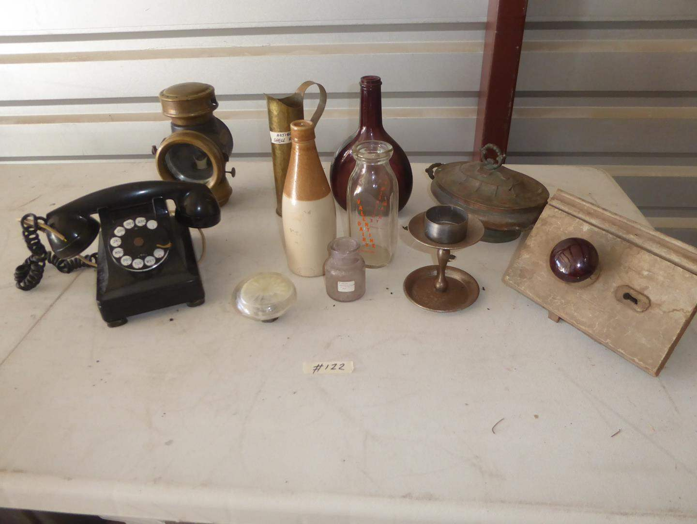Lot # 122 - Vintage Rotary Dial Telephone, Ascol Lantern, Artillery Shell Art, Bottles, Door Knobs & More (main image)