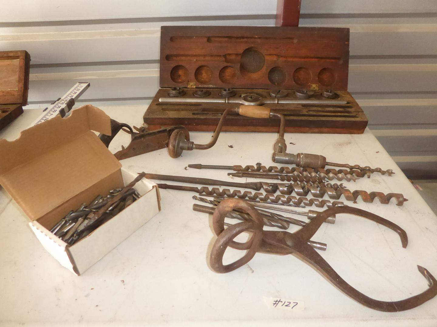 Lot # 127 - Vintage Drill Bits, Ice Tongs, Stanley Planer & Tap and Die Set (main image)