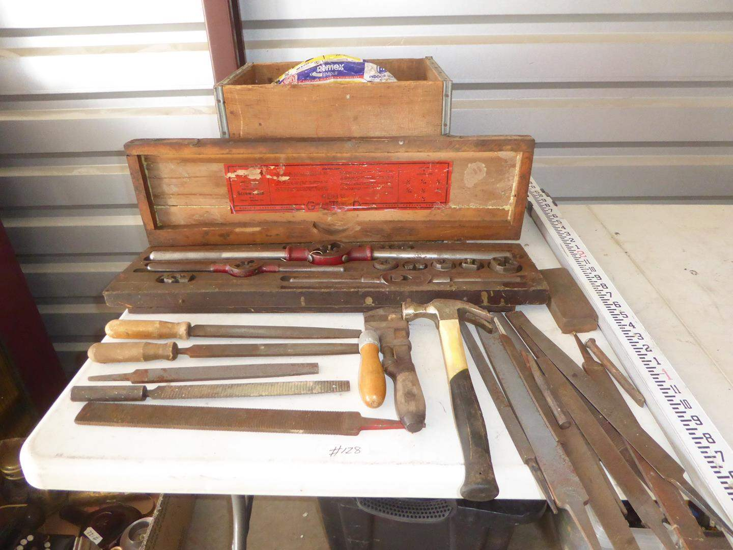Lot # 128 - Misc. Files, Tap and Die Set, Canada Dry Crate & 250 Ft. Indoor Wire (main image)