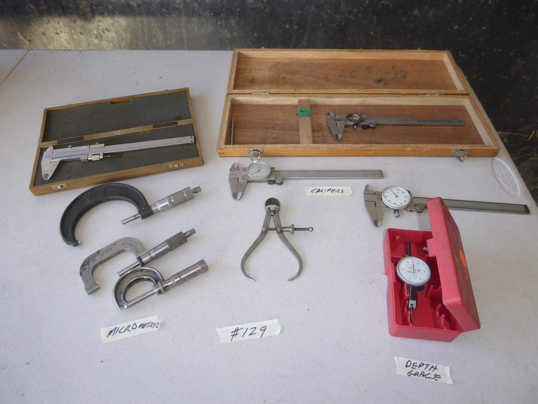 Lot # 129 - Calipers, Micrometers & Depth Gauge (main image)