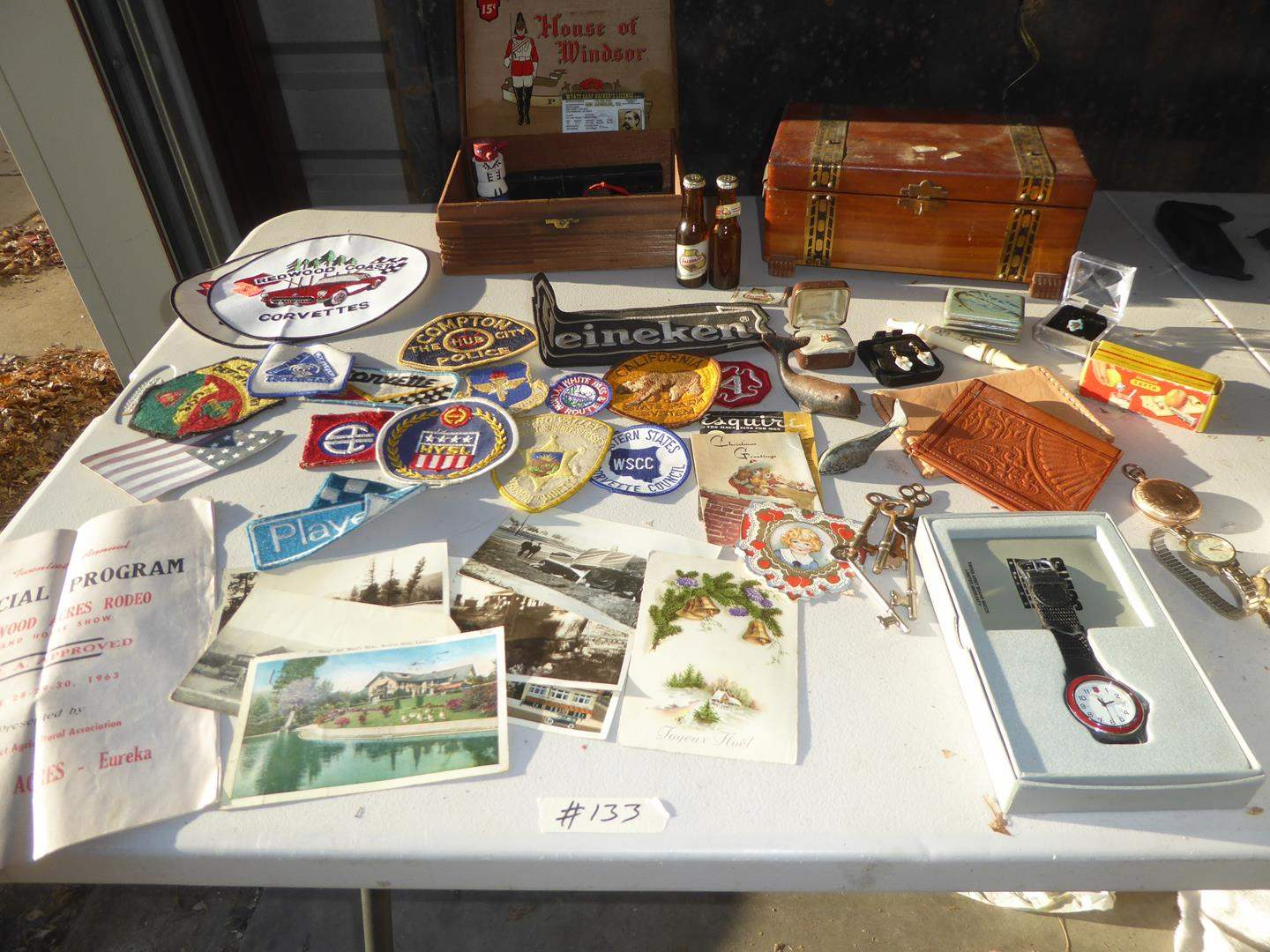 Lot # 133 - Fun Patches, Skeleton Keys, Razors, Wristwatches, Pocket Watch & Other Vintage Items (main image)