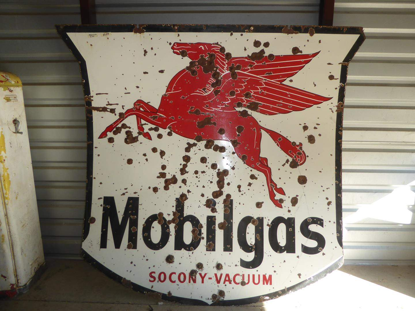 Lot # 149 - Huge Vintage Porcelain Enamel Metal Mobilgas Sign (main image)