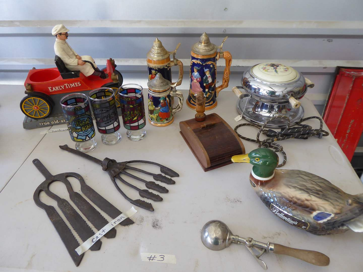 Lot # 3 - Beer Steins, Glasses, Waffle Iron & Other Collectibles  (main image)