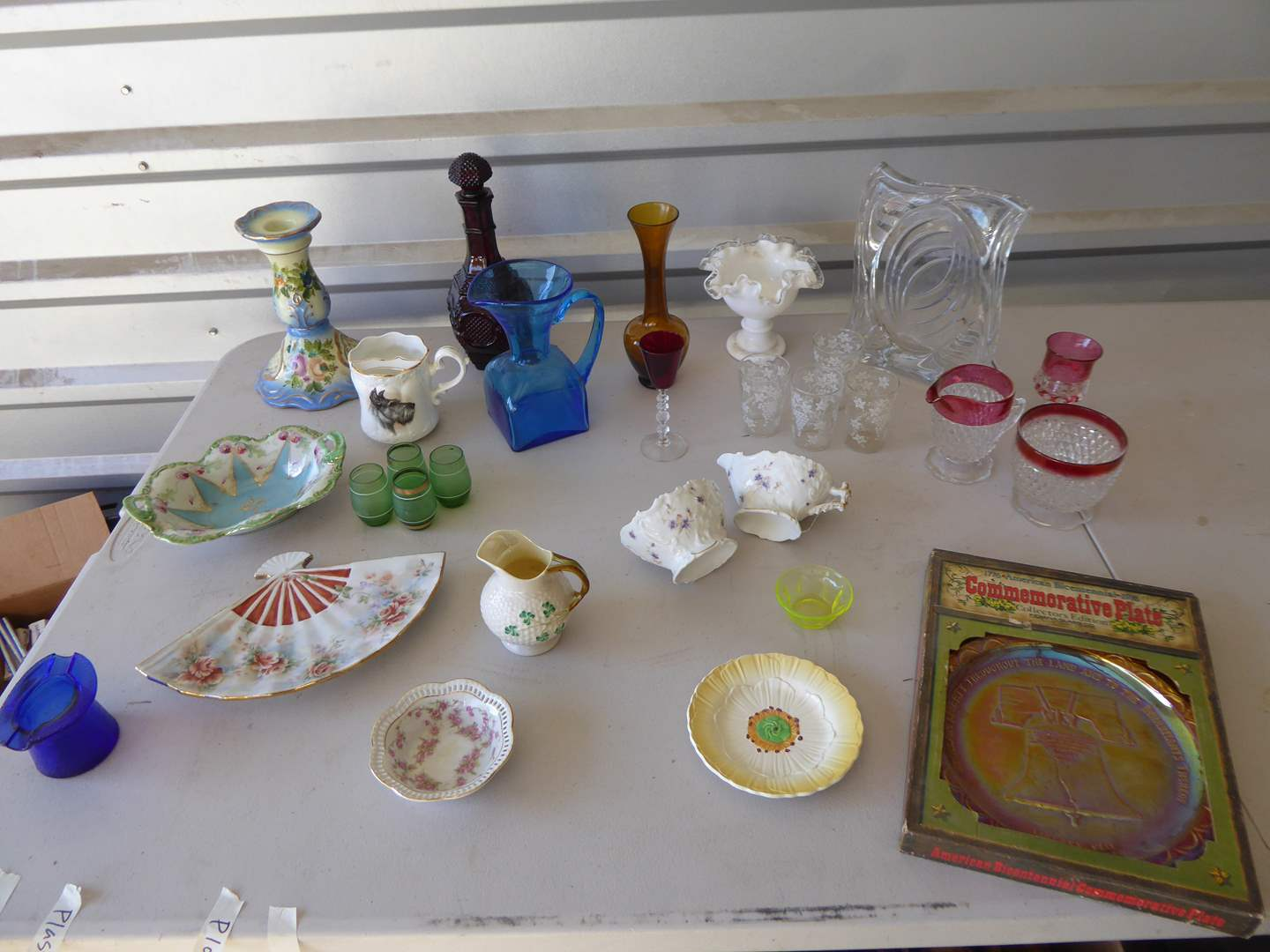 Lot # 4 - Glass & Ceramic Lot Including: Beleek Creamer Pitcher  (main image)