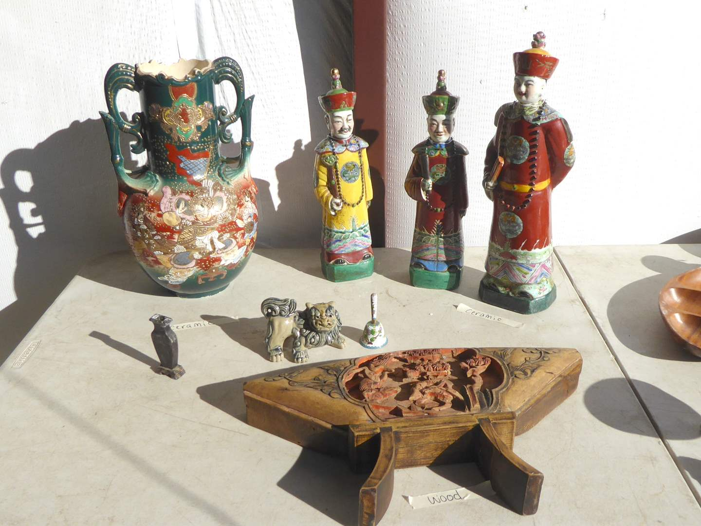 Lot # 6 - Chinese Wisemen, Carved Wooden Plaque & Foo Dog (main image)