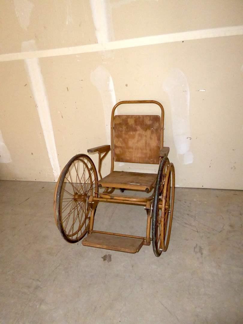 Lot # 13 - Vintage Wood & Metal Wheelchair  (main image)