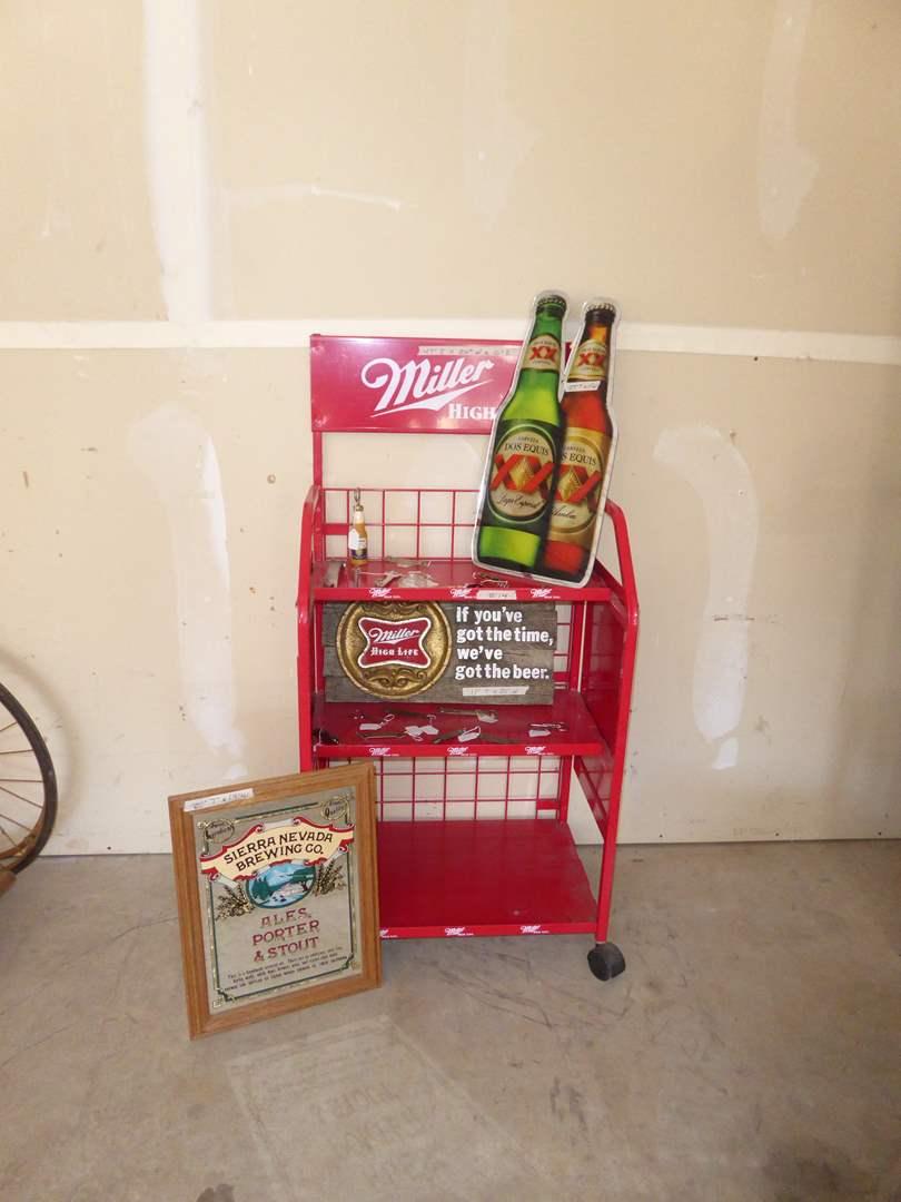 Lot # 14 - Metal Miller High Life Display Cart, Miller & Sierra Nevada Signs & Bottle Openers  (main image)