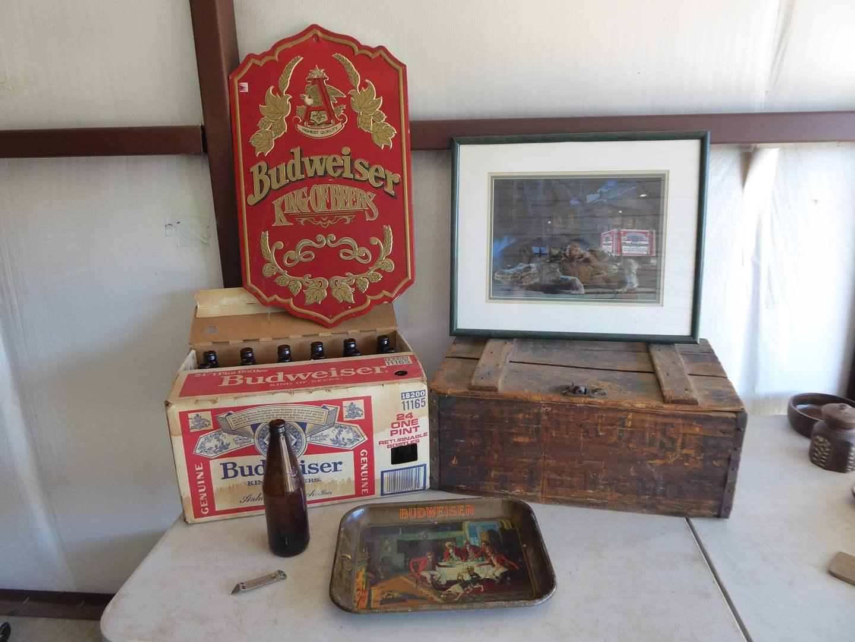 Lot # 17 - Budweiser Sign, Wooden Box, Old Budweiser Bottles & Framed Print  (main image)