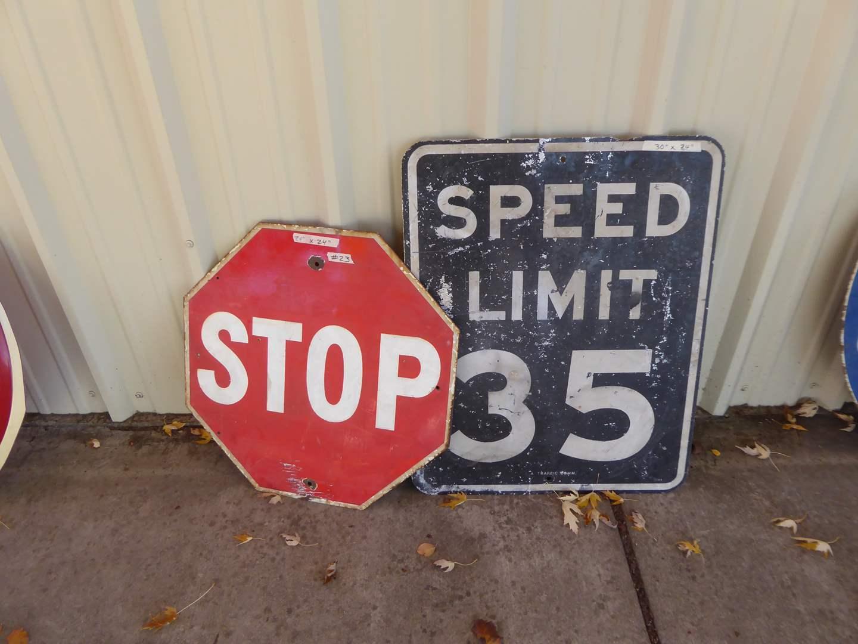 Lot # 21 - Two Vintage Signs Metal & Porcelain Enamel Over Metal  (main image)