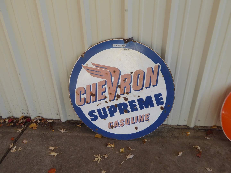 "Lot # 24 - Vintage ""Chevron Supreme Gas"" Sign Porcelain Enamel Over Metal  (main image)"