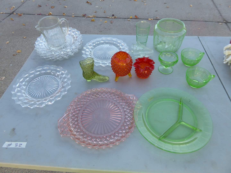 Lot # 32 - Fostoria, Fenton, Vaseline Glass & Pressed Glass  (main image)