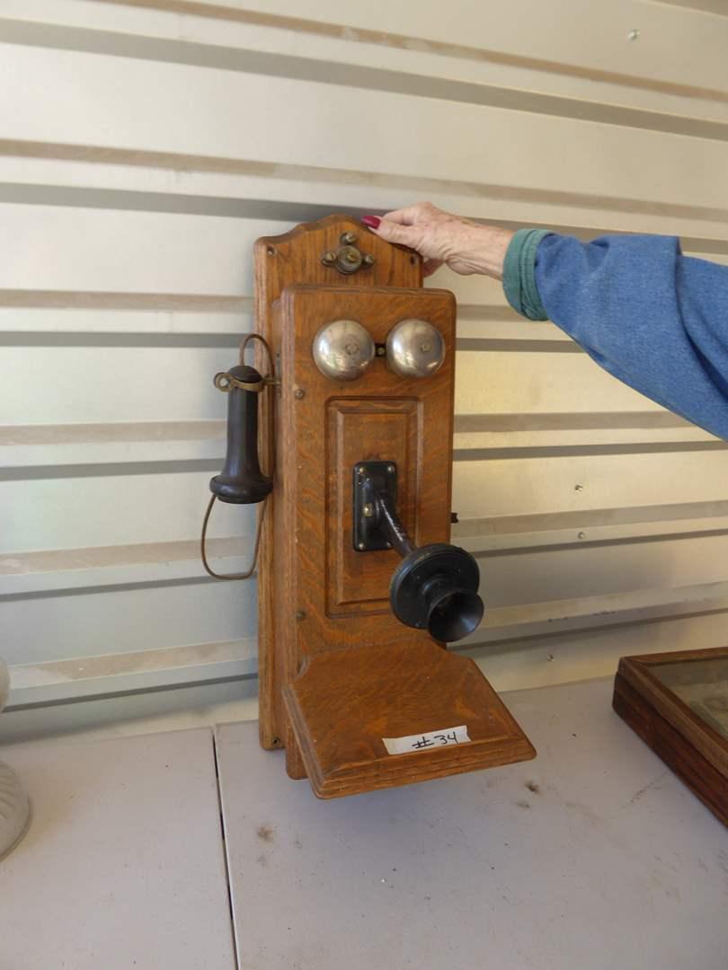 "Lot # 34 - Vintage Oak Hand Crank ""Monarch"" Telephone   (main image)"