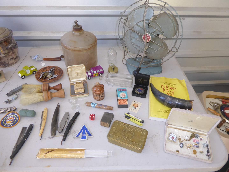 Lot # 36 - Collectibles Lot - Princess Mary Brass Box, Straight Razors, Perfection Stove Kerosene Bottle & More  (main image)