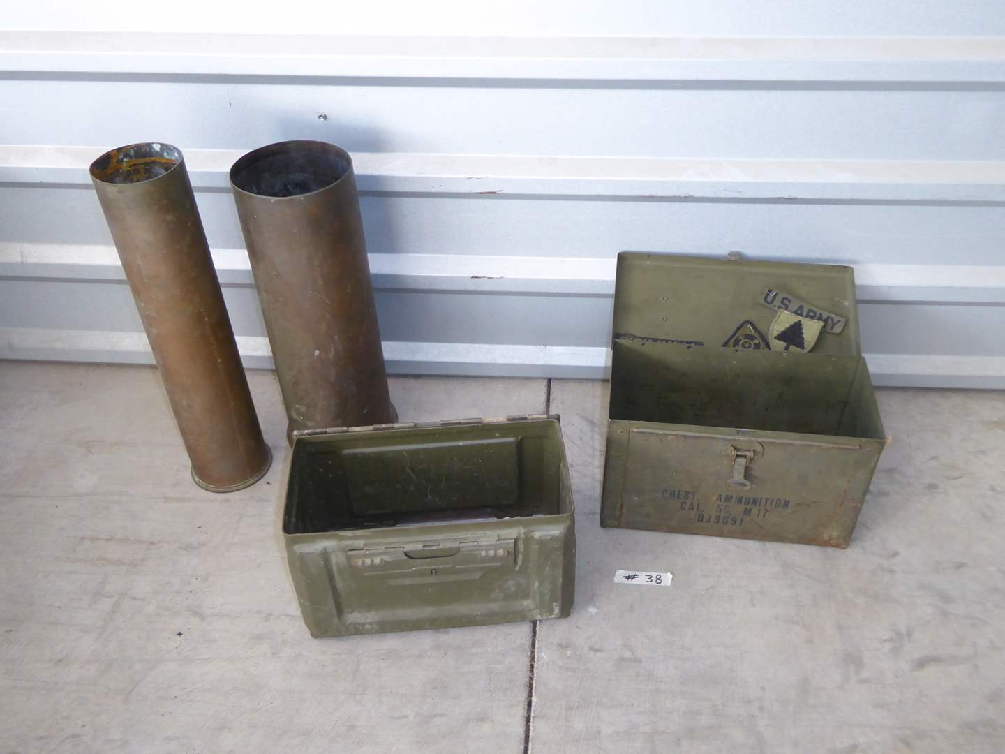 Lot # 38 - Ammo Boxes, US Army Patches & Artillery Shell Casings  (main image)