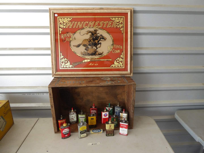 Lot # 41 - Framed Glass Winchester Sign, C&H Sugar Box & Vintage Oil Bottles  (main image)