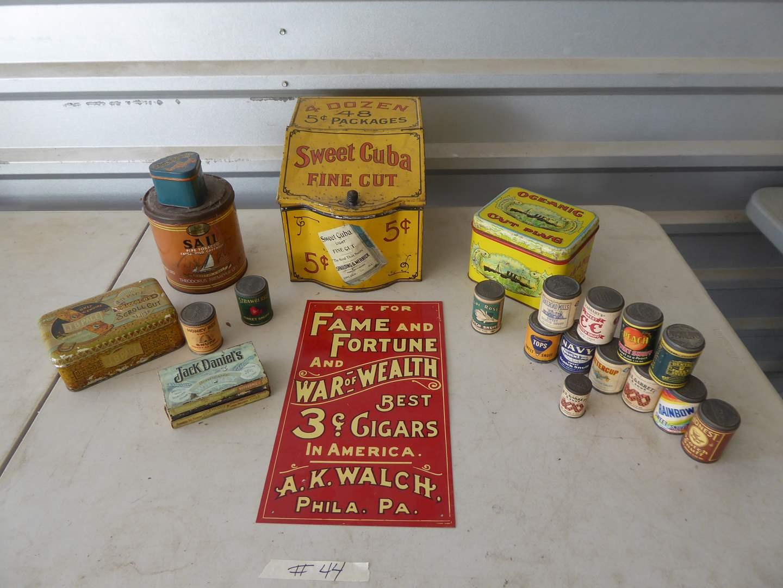 Lot # 44 - Vintage Tobacco & Snuff Cans & Tin Cigar Sign  (main image)