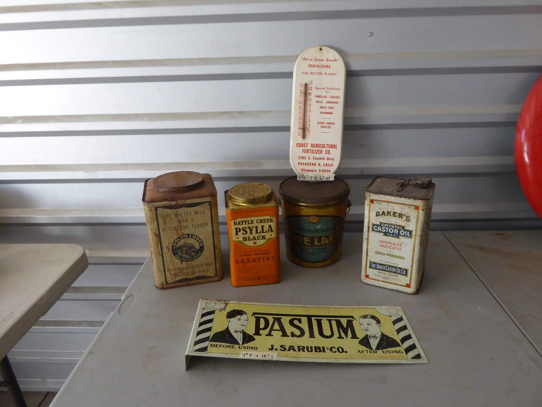 Lot # 45 - Vintage Cans & Barber Shop Pastum Sign  (main image)