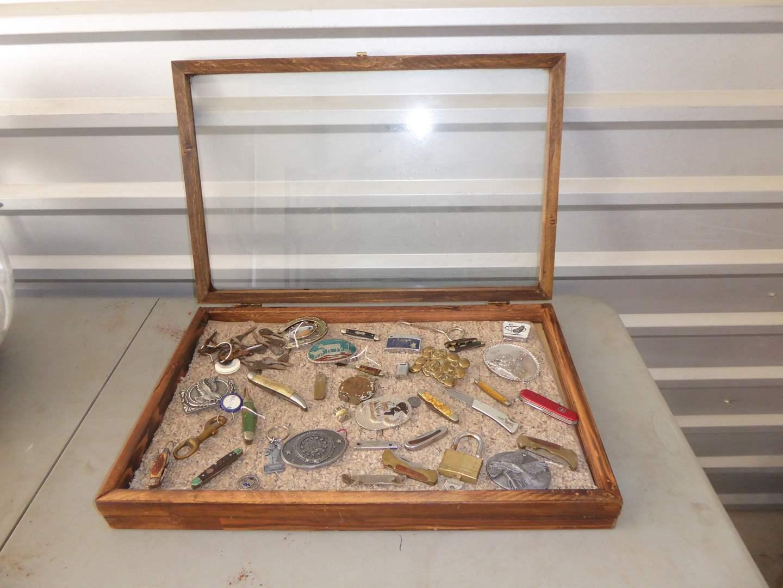Lot # 49 - Glass Case, Belt Buckles & Knives  (main image)