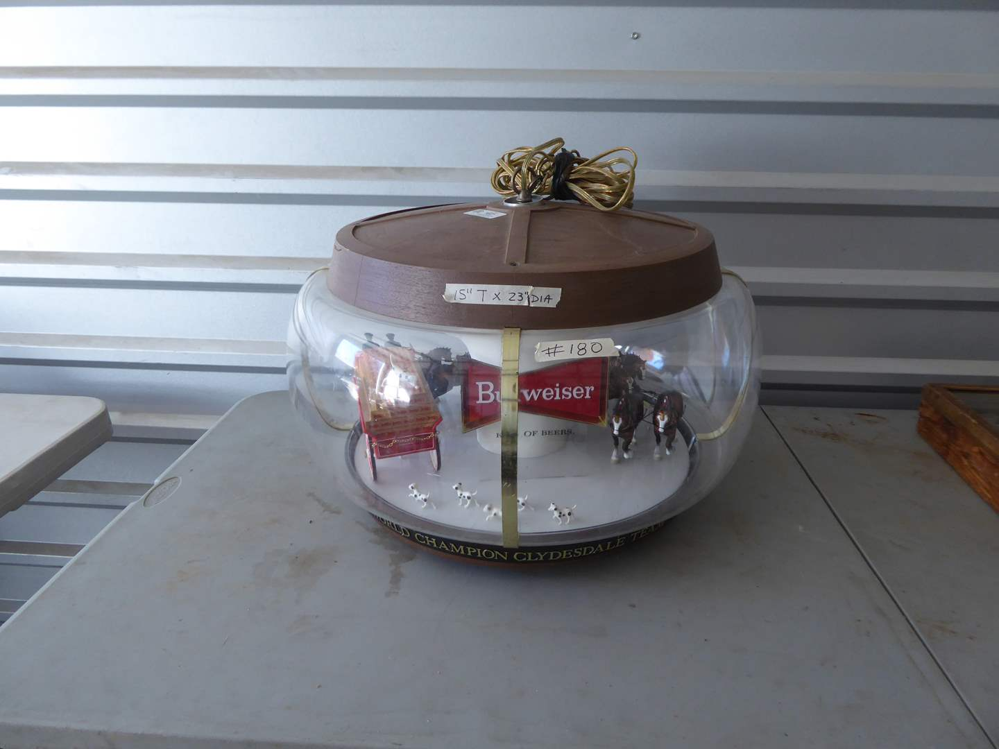 Lot # 180 - Vintage Budweiser Hanging Clydesdale Rotating Carousel Light   (main image)