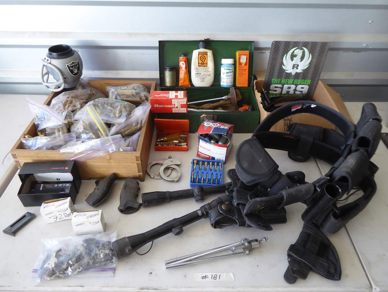 Lot # 181 - Gun Parts, Holster Belts & Reload Brass  (main image)