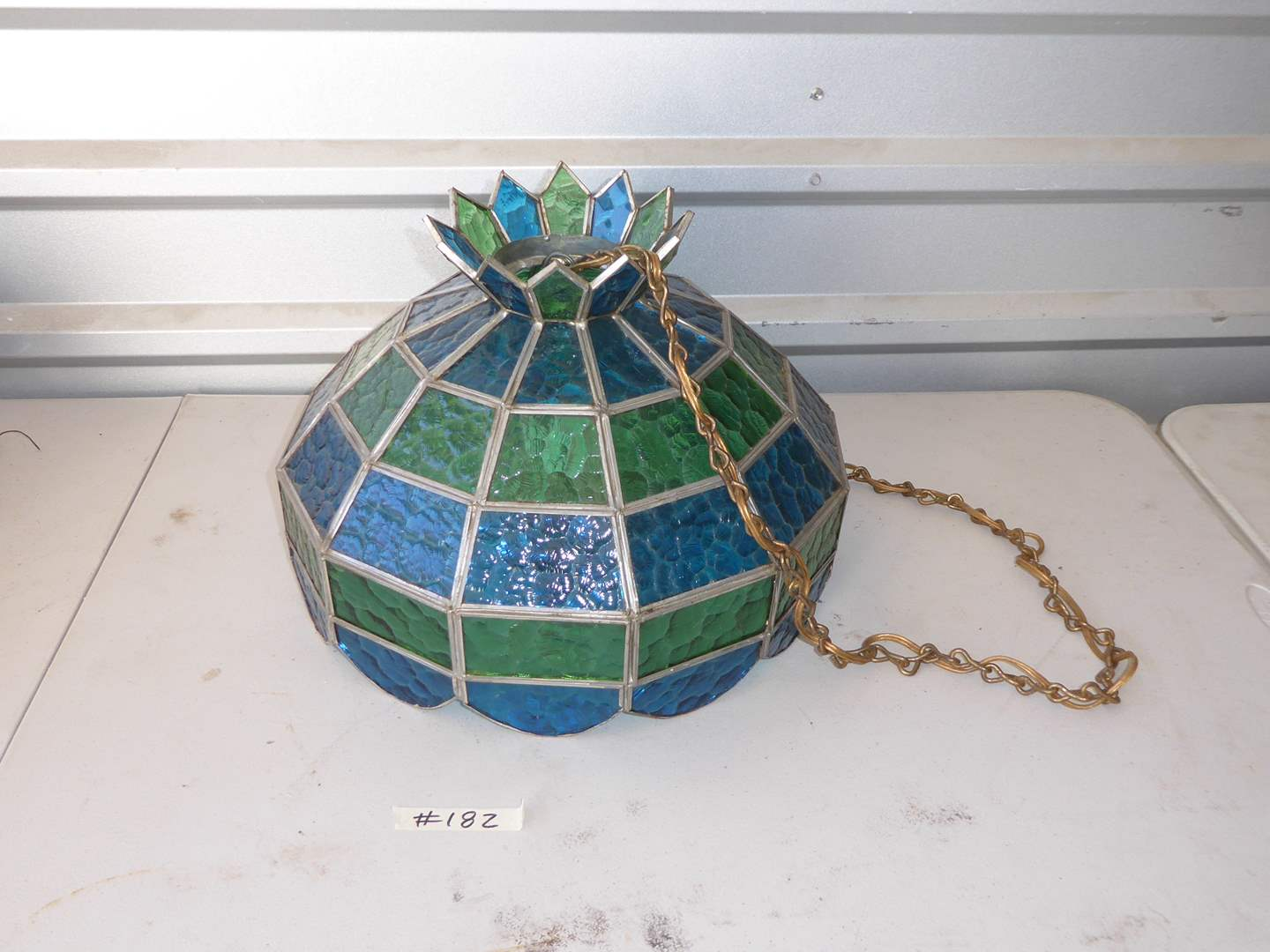 Lot # 182 - Vintage Leaded Glass Swag Lamp (Plugs In)  (main image)