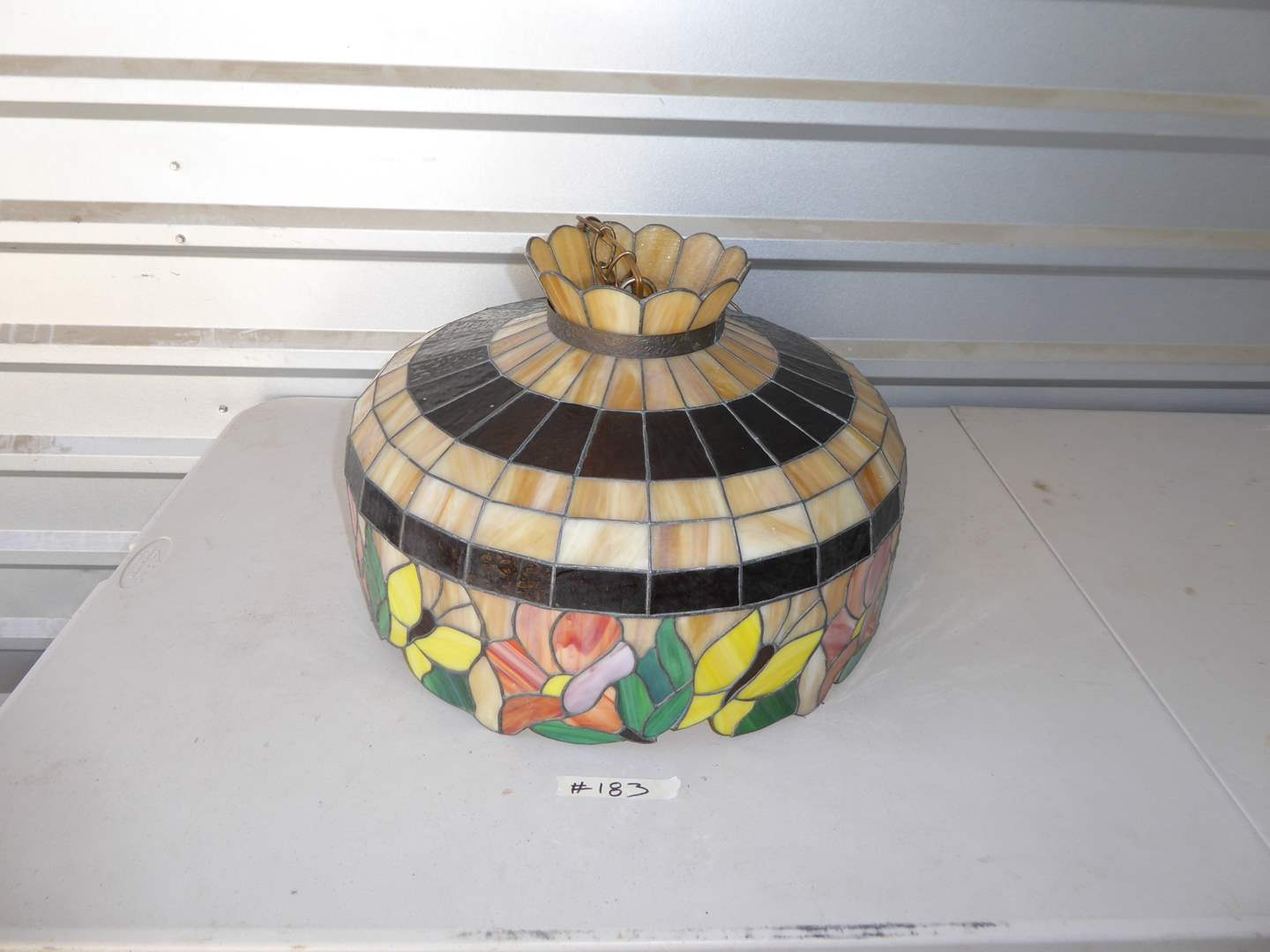Lot # 183 - Vintage Hanging Stained Glass Tiffany Style Lamp  (main image)