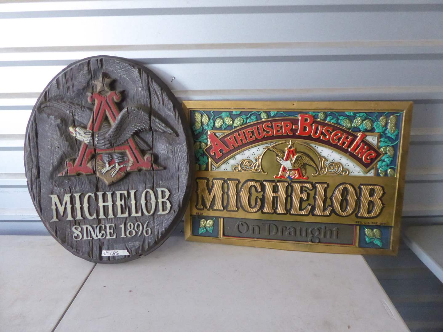 Lot # 186 - Two Vintage Plastic Michelob Signs  (main image)