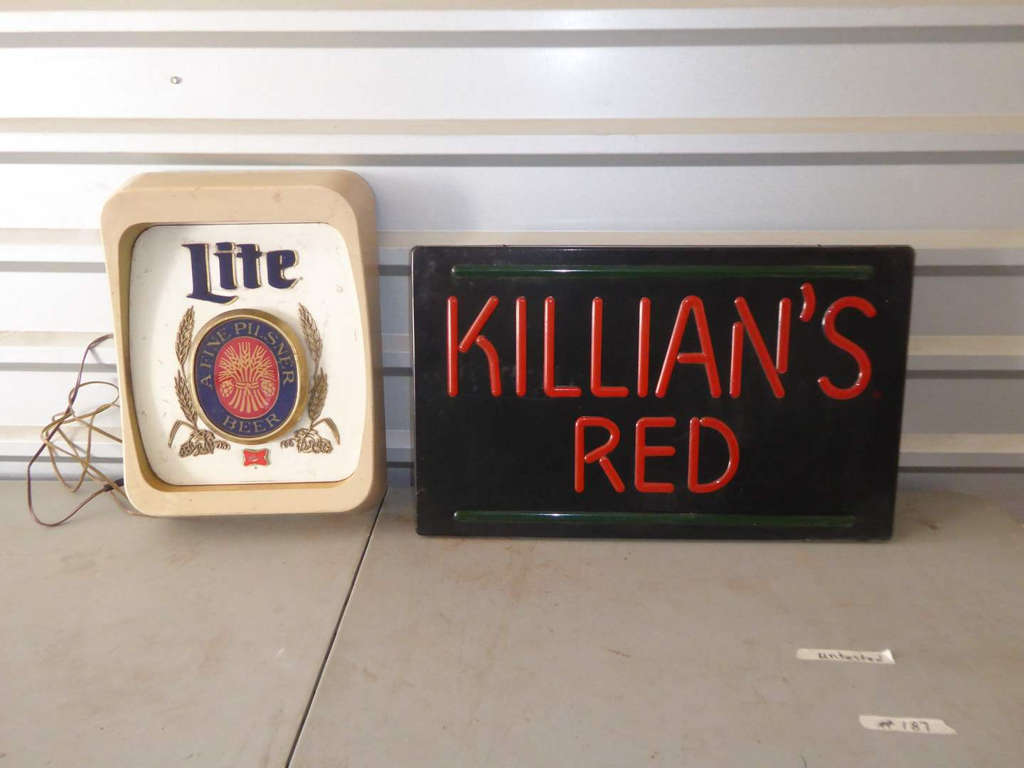 Lot # 187 - Killian's Red & Miller Lite Lighted Beer Signs (Not Tested)  (main image)