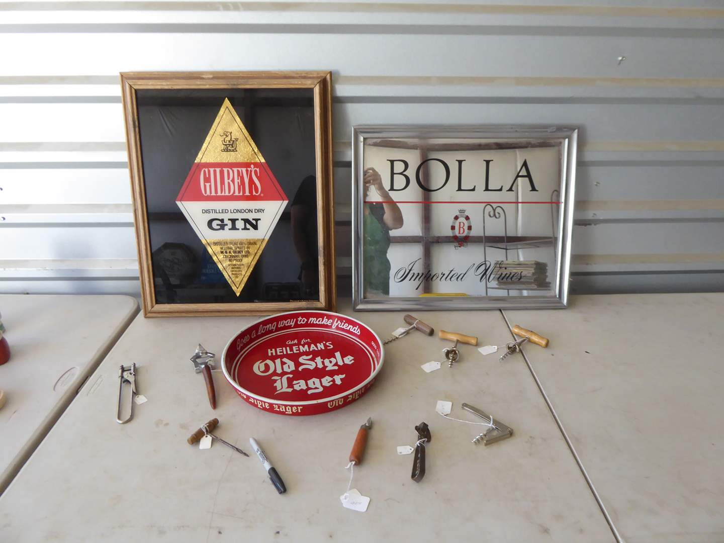 Lot # 188 - Mirrored Glass Advertising, Bottle Openers & Heilman's Bar Tray  (main image)