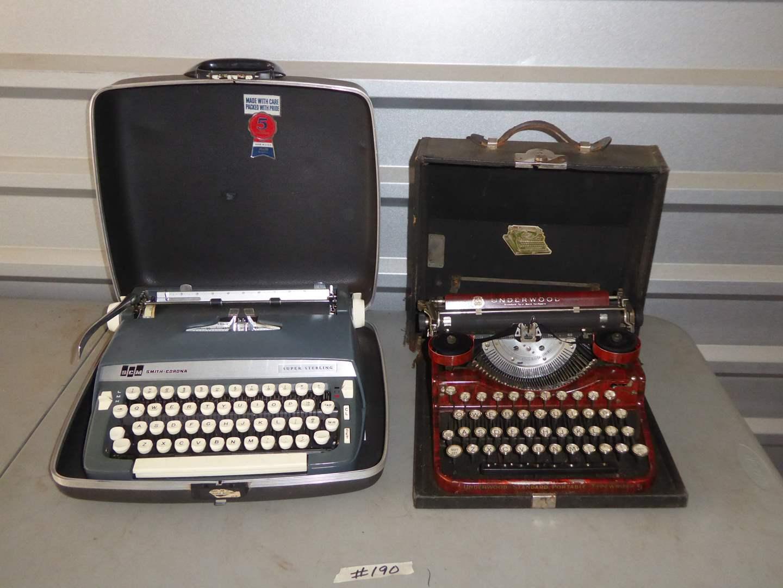 Lot # 190 - Two Typewriters (SCM Smith Corona & 1920's Underwood)  (main image)