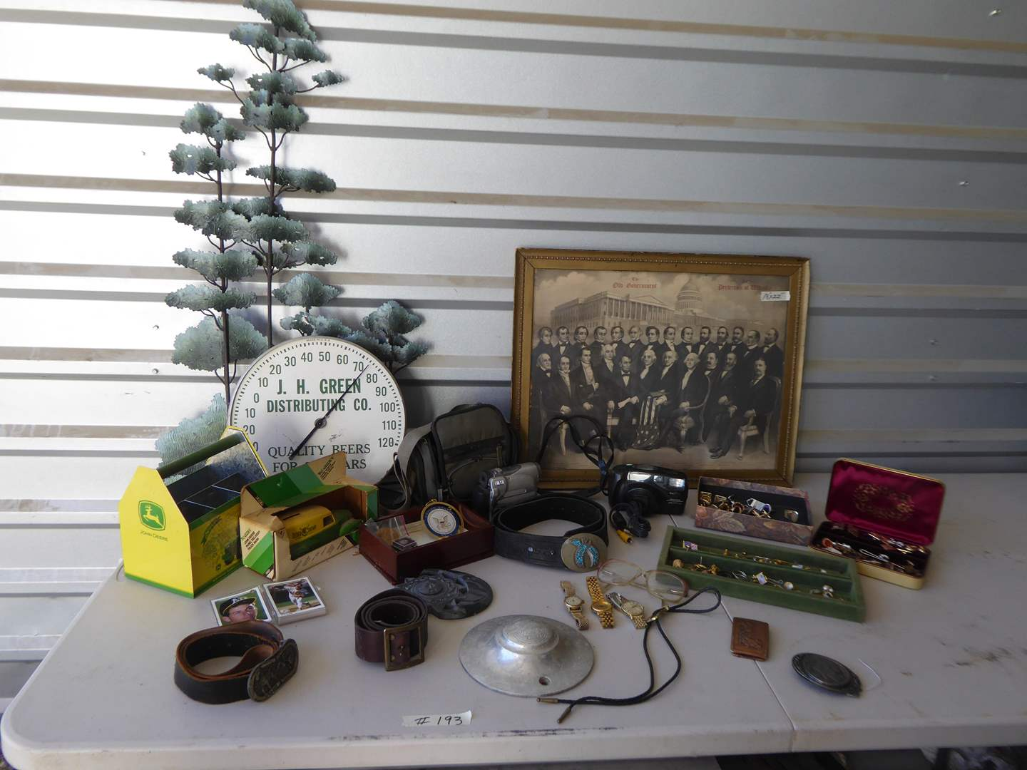 Lot # 193 - Collectibles Lot - Cuff Links, Watches, Vintage Thermometer, Framed Presidents & More  (main image)