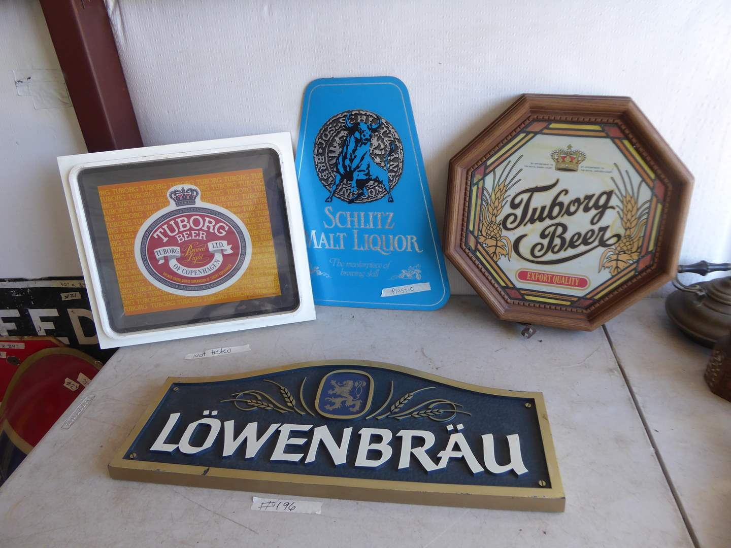 Lot # 196 - Four Vintage Beer Signs  (main image)