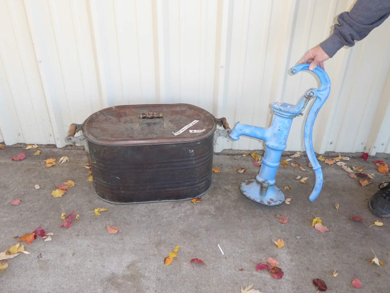 Lot # 206 - Antique Goulds Water Pump & Lidded Copper Boiler  (main image)