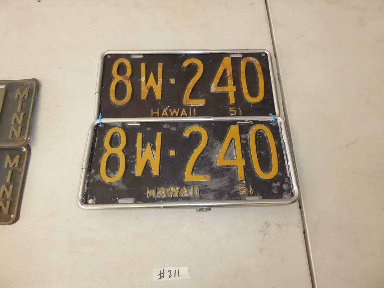 Lot # 211 - Pair Of Vintage Hawaii License Plates (Circa: 1951) (main image)