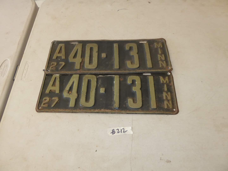Lot # 212 - Pair Of Minnesota License Plates (Circa: 1927) (main image)