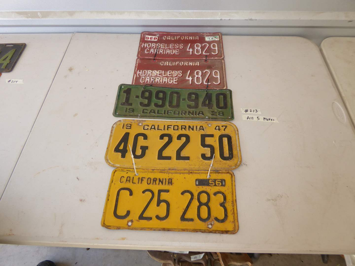 Lot # 213 - Vintage California Plates & Horseless Carriage Plates  (main image)