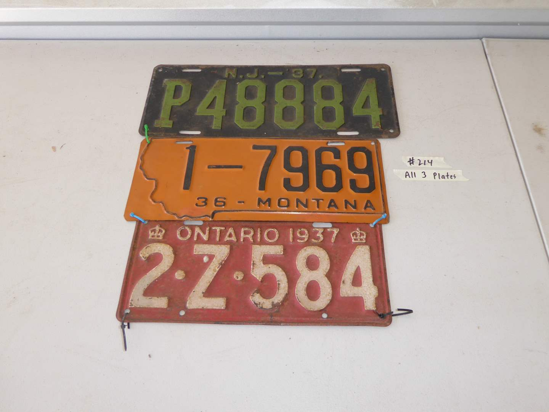 Lot # 214 - Vintage Plates - Ontario, Montana, NJ (1936,1937) (main image)