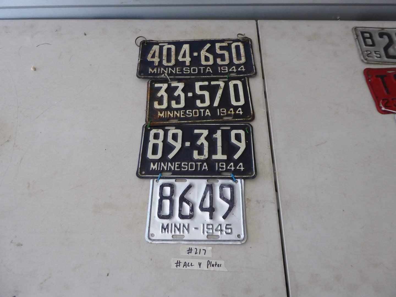 Lot # 217 - Four Minnesota License Plates (1944 - 1945) (main image)
