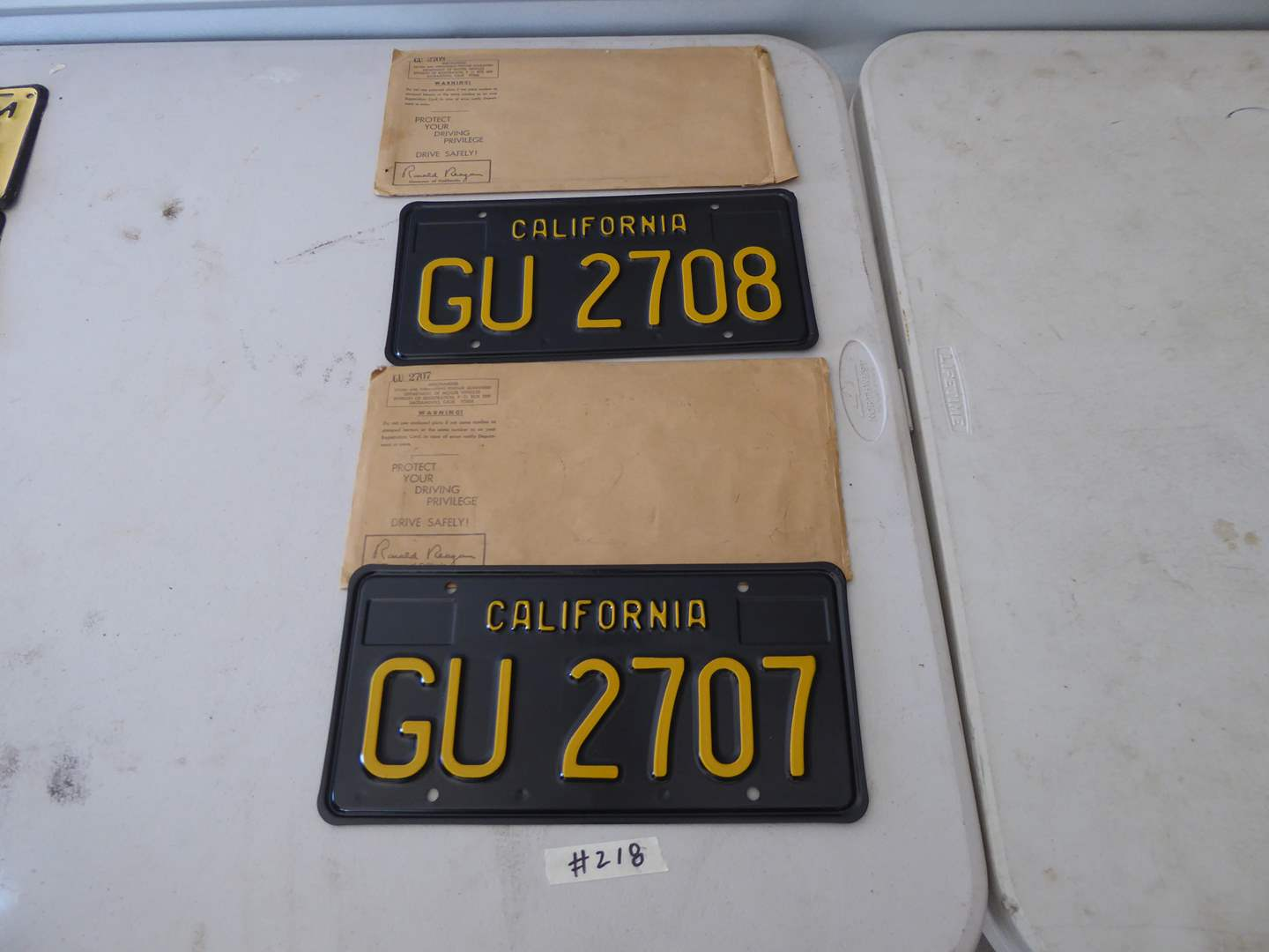 Lot # 218 - Two California Trailer Plates (Late 60's Early 70's) California Correctional Industries  (main image)