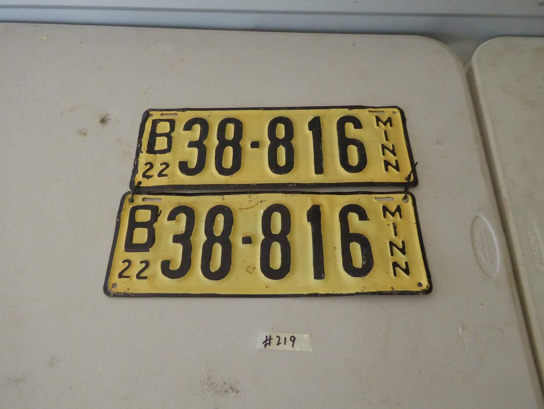 Lot # 219 - Pair Of Minnesota License Plates Circa: 1922 (main image)