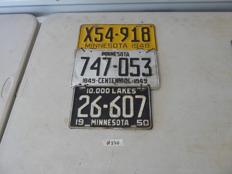 Lot # 220 - Vintage Minnesota Plates (1948, 1949, 1950)  (main image)