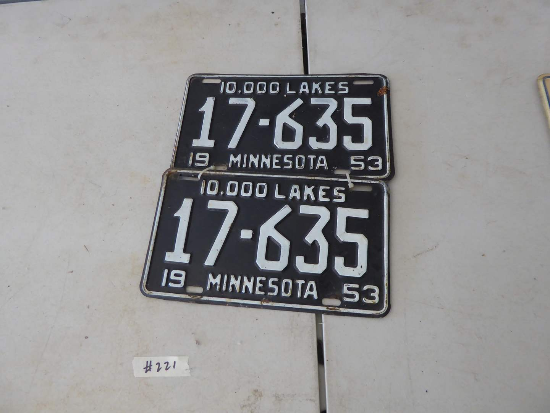 Lot # 221 - Pair Of Vintage Minnesota License Plates Circa: 1953 (main image)