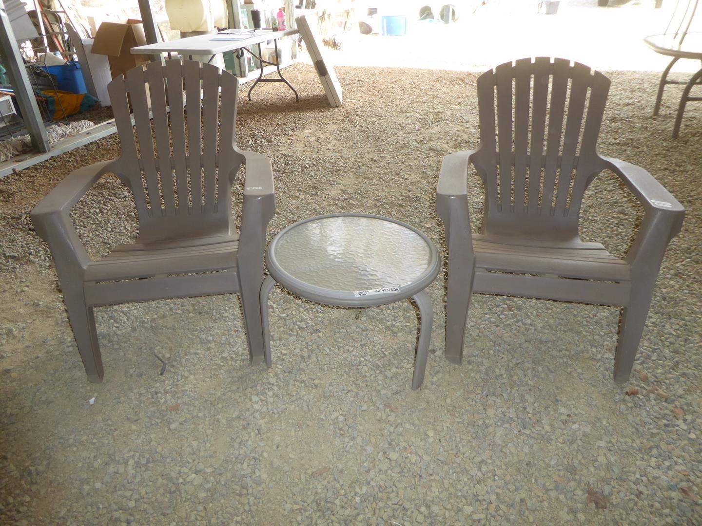Lot # 53 - Pair Sturdy Plastic Patio Chairs & Small Glass Top Drink Table (main image)