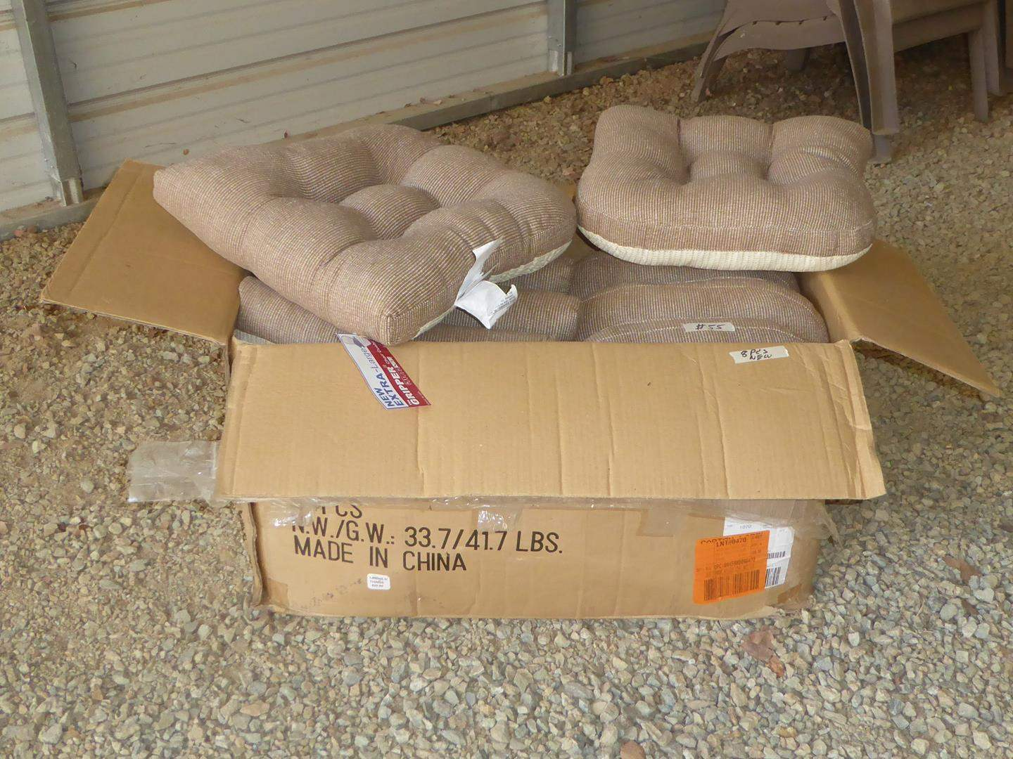 Lot # 55 - Eight Beige New Extra Large Gripper Chair Cushions (NIB) (main image)
