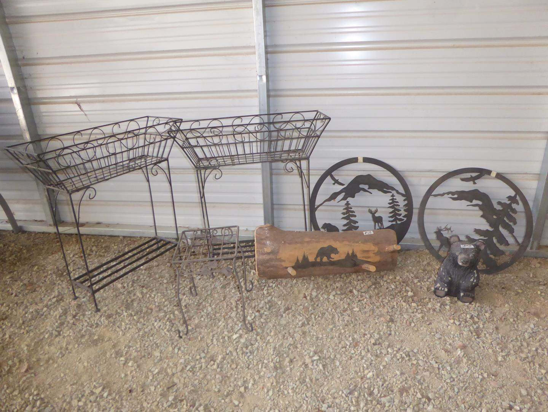 Lot # 58 - Two Metal Planter Stands, Metal Plant Stand, Wooden Hanging Coat Rack, Metal Elk & Eagle Wall Art & Concrete Bear (main image)