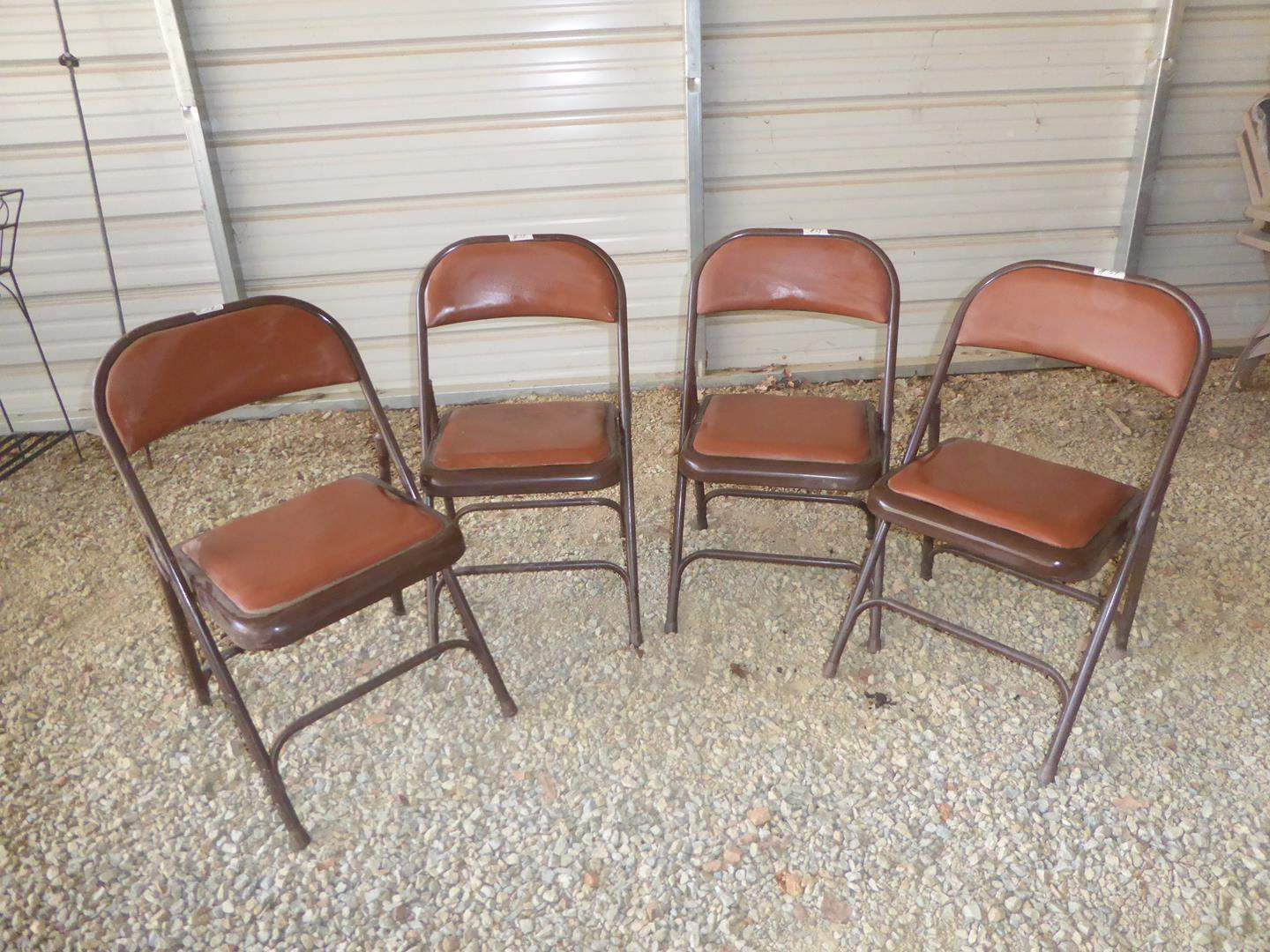Lot # 59 - Four Vintage Metal Folding Chairs w/Built in Cushions (main image)