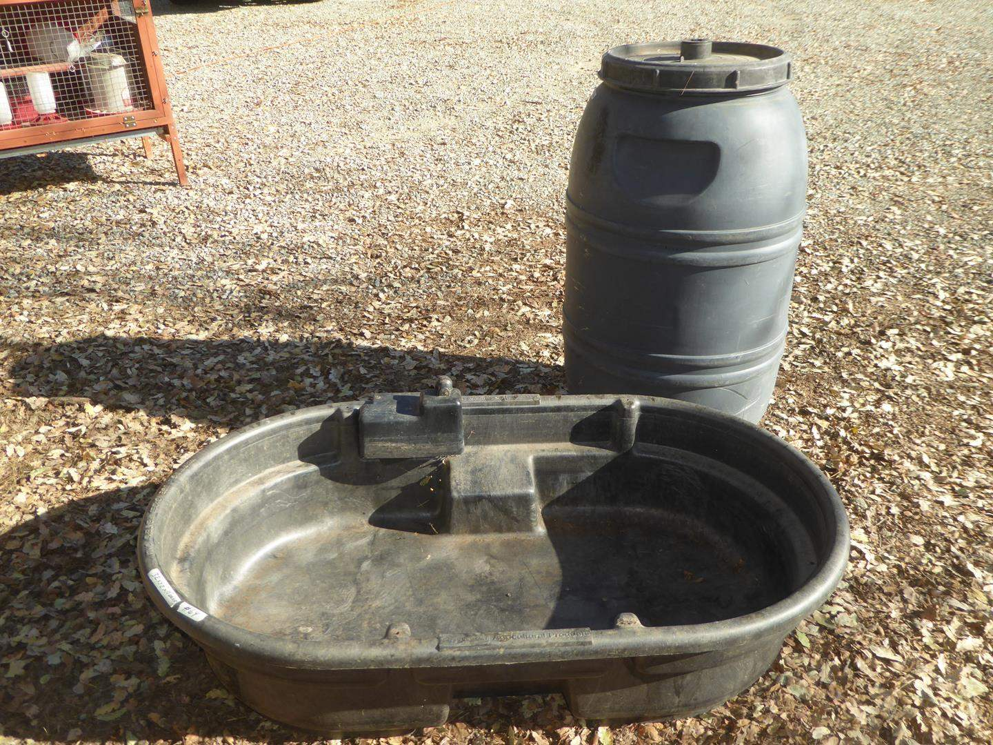 Lot # 64 - Rubbermaid Water Trough & Water Barrel (main image)