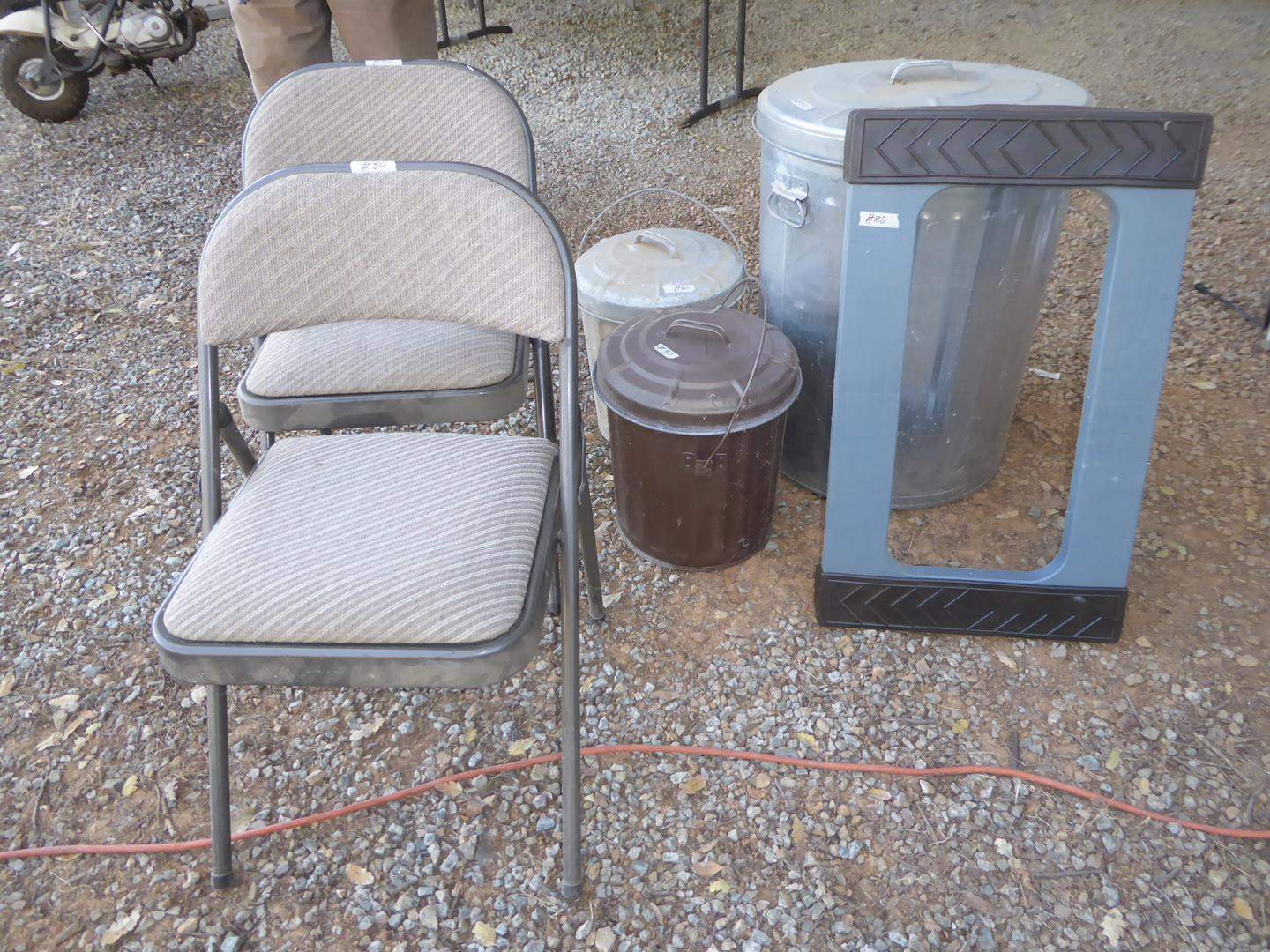 Lot # 80 - Two Folding Chairs, Two Small Ash Cans, Garbage Can & Furniture Dolly (main image)